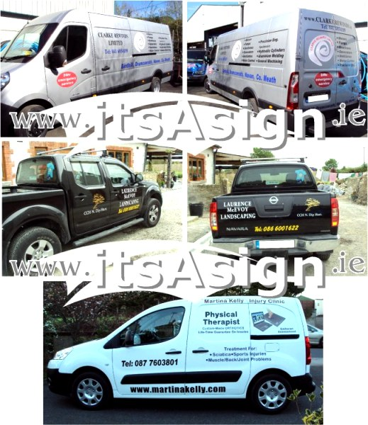 van signs on white and black vehicles