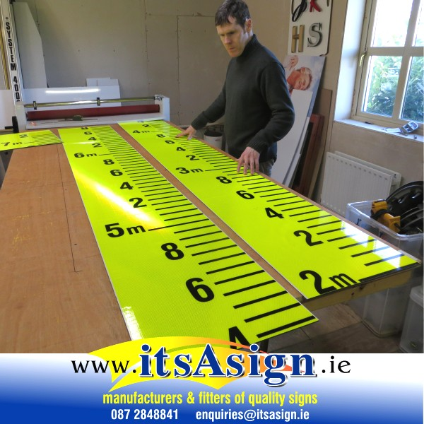 sign makers creating water depth chart signs in ireland