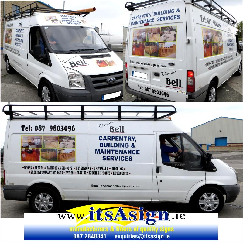 signs applied to transit van in drogheda louth to advertise local business