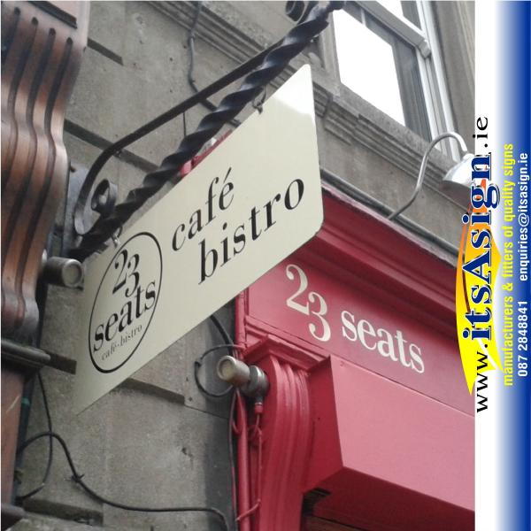 hanging-sign-outside-cafe-in-dundalk-with-lettering-applied-to-new-paintwork