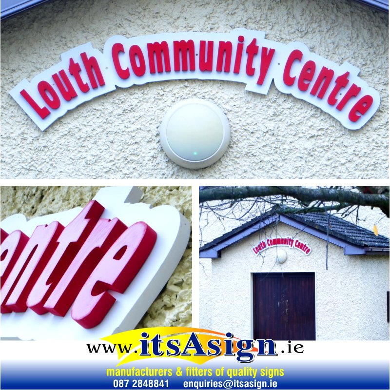 The new sign above the entrance to the Community Centre in Louth Village