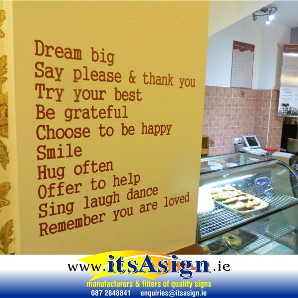 words of inspiration decal stickers on cafe wall that look like hand painted on