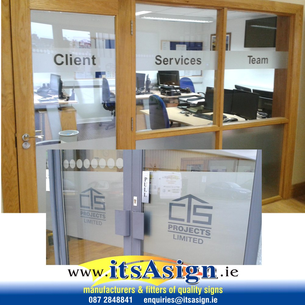 company to apply signs to office windows louth